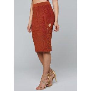 BebeMia Braided Slit Skirt