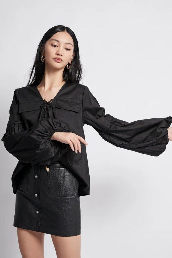 Coda 黑色显瘦系带上衣