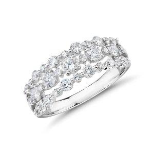 Blue NileDiamond Three-Row Alternating Fashion Ring in 14k White Gold (1 ct. tw.) | Blue Nile
