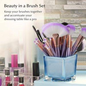 独家8折USpicy专业化妆刷32只装+高级皮质紫色化妆包
