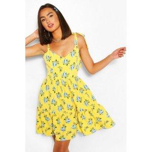BoohooFloral Print Tie Strap Frill Hem Swing Dress | boohoo
