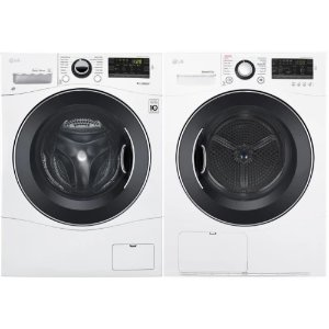 LGWADREW13881 Side-by-Side Washer & Dryer Set with Front Load Washer and Electric Dryer in White