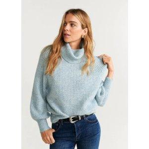 Mango蓝色高领毛衣