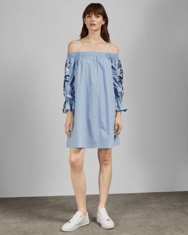 露肩刺绣衬衫裙