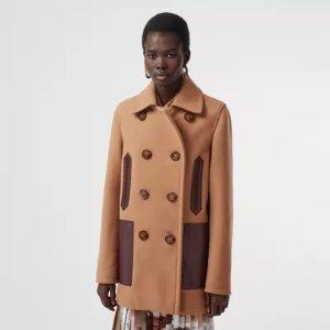 Burberry拼色羊毛大衣