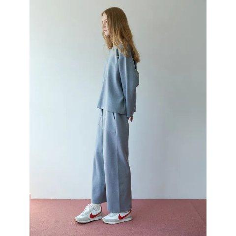 雾霾蓝针织套装