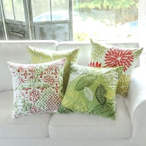 $10.19Phantoscope Set of 4 New Living Yellow and Green Decorative Throw Pillow Case