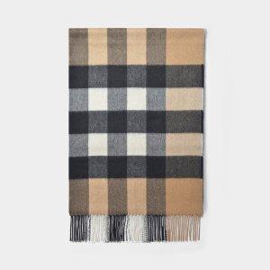 Burberry刘雯同款羊绒格纹围巾