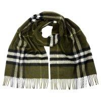 Burberry 绿色格子羊绒围巾