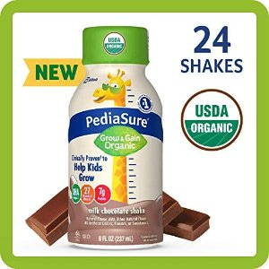 PediaSure20% off + 5% offOrganic Kid's Nutrition Shake, non-gmo, no Artificial Flavors or Colors, No Artificial Growth Hormones, 7g Protein, 32mg Dha omega-3, Milk Chocolate, 8 Fl Oz, 24 Count
