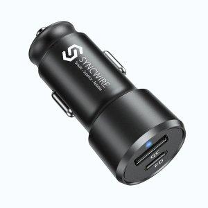 包邮折扣码:DM35SyncwireUSB-C +USB-A 双接口 车载快充器