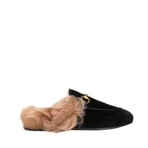 Gucci美国官网定价$890Princetown 毛毛穆勒鞋