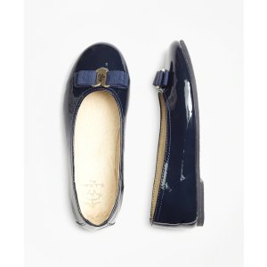 Girls' Navy Blue Patent Leather Ballet Flats   Brooks Brothers