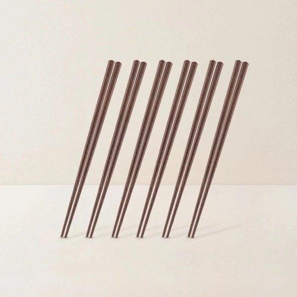 五角宝塔形实木筷 6双装