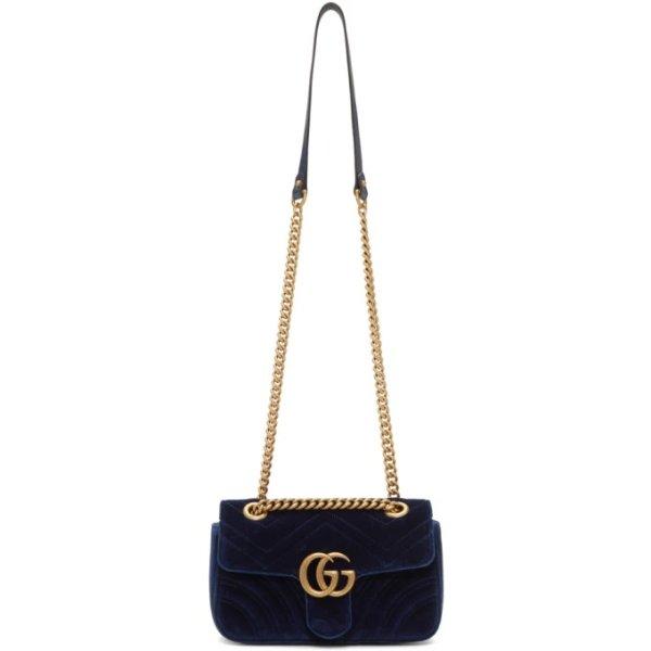 Marmont 2.0 Bag 蓝色丝绒MINI包包