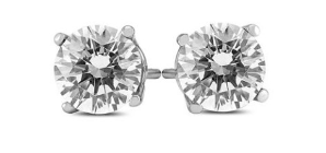 Dealmoon Exclusive!$7791 Carat TW AGS Certified Round Diamond Solitaire Stud Earrings in 14K White Gold @ Szul.com