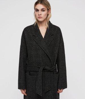 ALLSAINTS US: Womens Lara Check Ilia Coat (dark_charcoal)