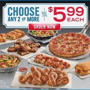 低至每个$5.99Domino's 鸡翅, 面包, 通心粉, Pizza等 美食 一次点两种