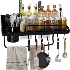 ANEDER 壁挂式厨房置物架 带S型挂钩和毛巾杆