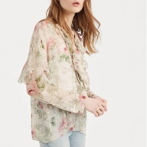 Ralph LaurenFloral Lace-Up Silk Blouse