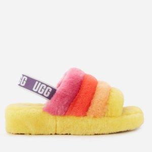 UGG彩虹色毛毛凉鞋