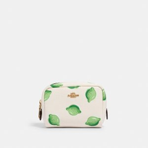 Mini Boxy Cosmetic Case With Lime Print