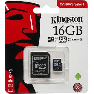 仅$3.99逆天价:Kingston 16GB SD卡 80MB/s读取速度 送转接卡