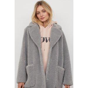 H&M中长款毛绒外套