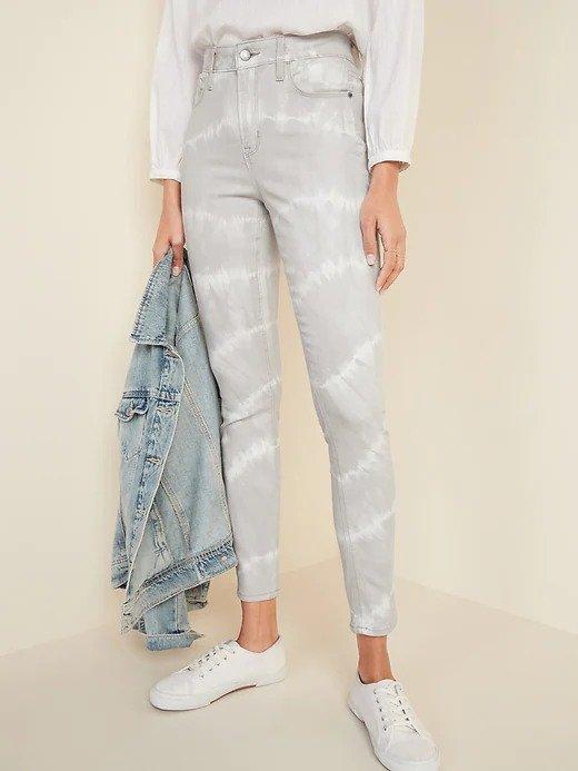高腰扎染牛仔裤