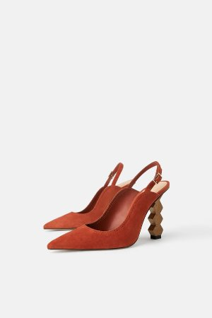 LEATHER SLINGBACKS WITH GEOMETRIC HEELS - MOM-WOMAN-CORNER SHOPS | ZARA United States