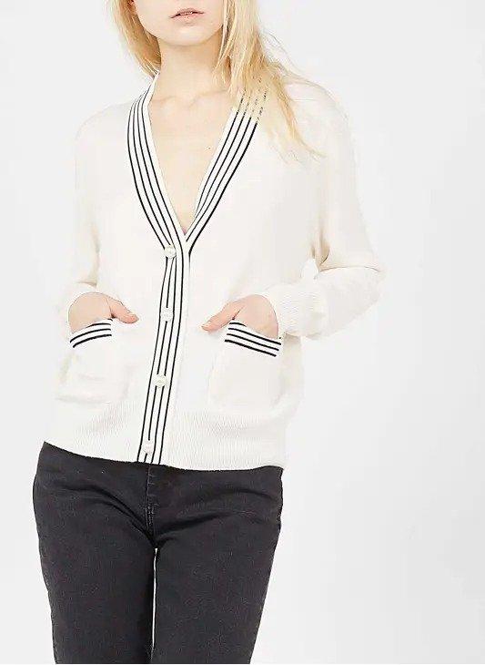 白色珍珠针织外套