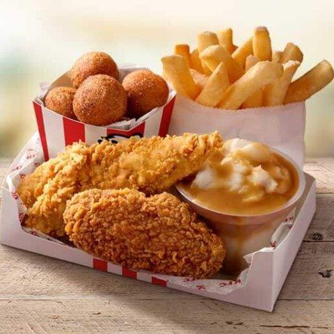 售价$4.95 每日4pm前供应KFC 新品小食套餐上市 含原味鸡、土豆泥、中薯