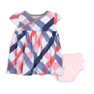 Psychedelic Watercolor Check Organic Baby Dress and Diaper Cover