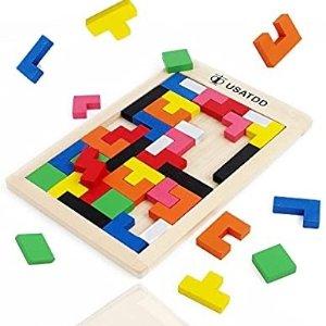 USATDD Wooden Blocks Puzzle Russian Tangram