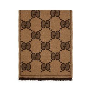 Gucci棕色大logo围巾