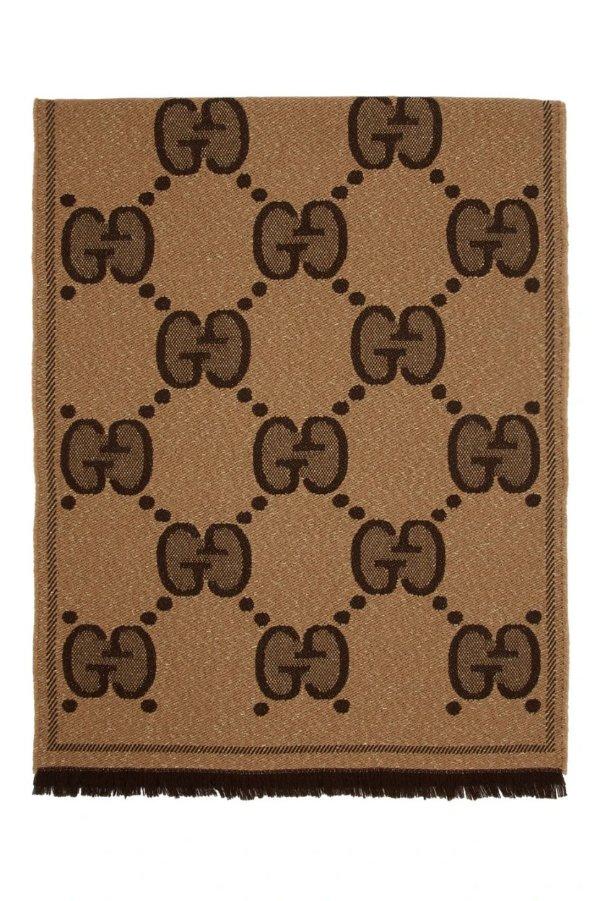 棕色大logo围巾