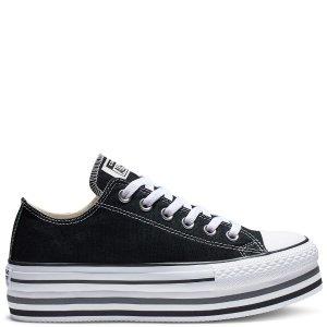 Converse黑色厚底帆布鞋