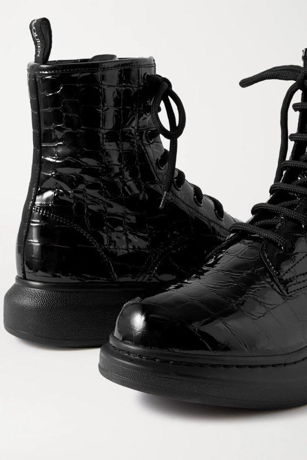 Croc-effect patent-leather 短靴