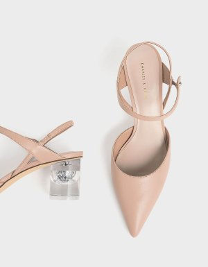 Nude Pointed Toe Lucite Heel Cylindrical Pumps | CHARLES & KEITH US