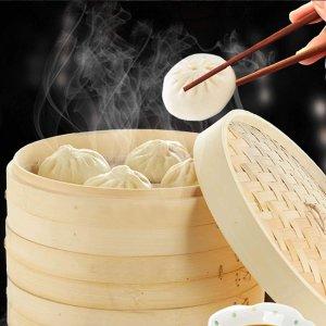 优惠价€18.99 带5片蒸笼布JAOMON 传统竹制蒸笼热卖 厨房里满是幸福的烟火气