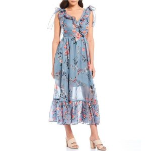 French ConnectionCecile Floral Print Surplice Ruffle V-Neck Maxi Dress | Dillard's