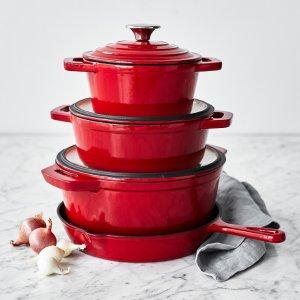 $149.96Sur La Table 珐琅铸铁锅具7件套 红蓝两色可选
