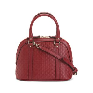 Made In Italy Leather Embossed Dome Bag