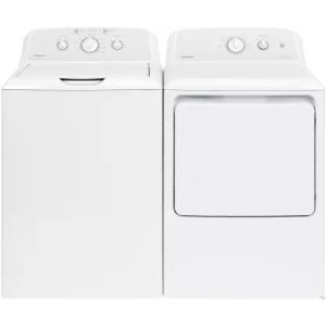 Hotpoint HOWADREW2 Side-by-Side Washer & Dryer Set with Top Load Washer and Electric Dryer in White