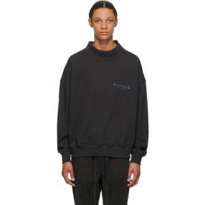 EssentialsBlack Mock Neck Sweatshirt