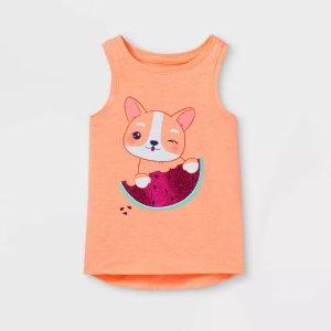 Cat & Jack$10 Off $40Toddler Girls' Glitter Dog Graphic Tank Top - Cat & Jack™ Neon Peach