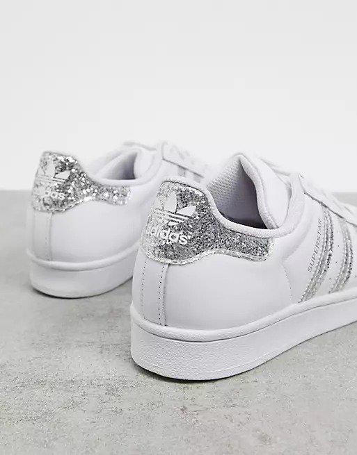 Superstars 闪片银尾小白鞋