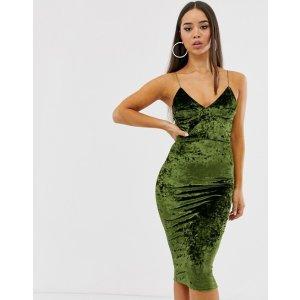Club L London墨绿色天鹅绒吊带裙