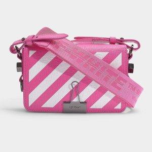 OFF WHITE粉色条纹夹子包