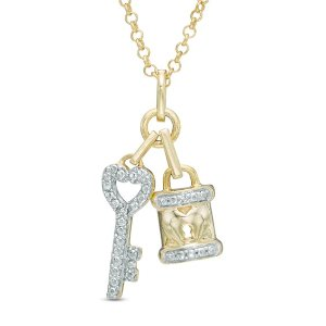 ZalesDiamond Accent Lock and Key Pendant in Sterling Silver and 14K Gold Plate|Zales